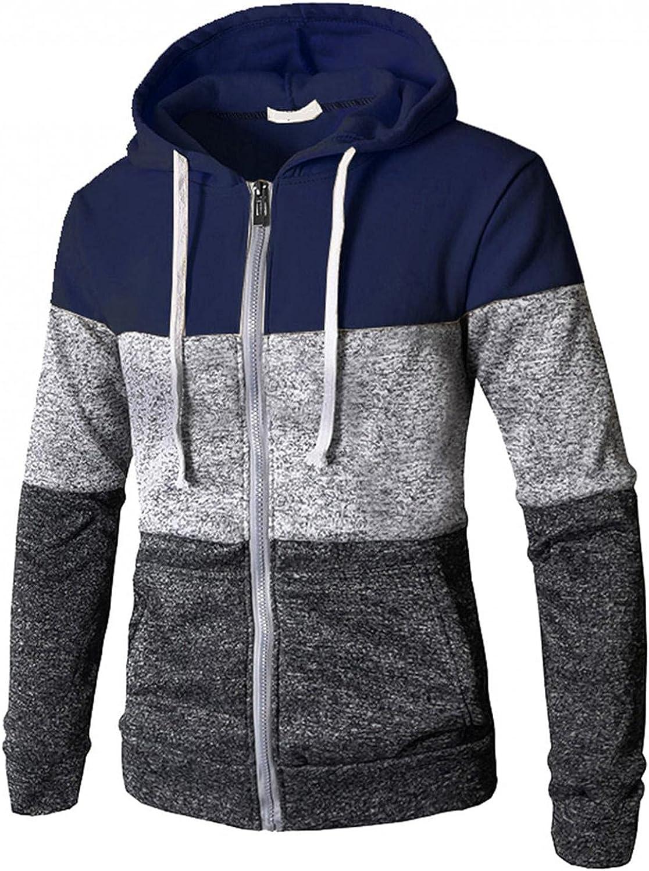 Men's Hoodies Sweatshirt Casual Lightweight Long Sleeve Full Zipper Colorblock Lace-up Hooded Cardigan Jackets