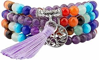 TUMBEELLUWA Beaded Bracelet Multilayer Yoga Meditation Mala Beads with Alloy Charms