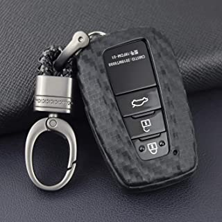 VSLIH Carbon Fiber Texture for Toyota Key Fob Cover Key Case Sleeve Protector Shell Keyless Remote Control Smart Key Holder with Key Chain for 2018 2019 Toyota Camry RAV4 Avalon C-HR Prius Corolla