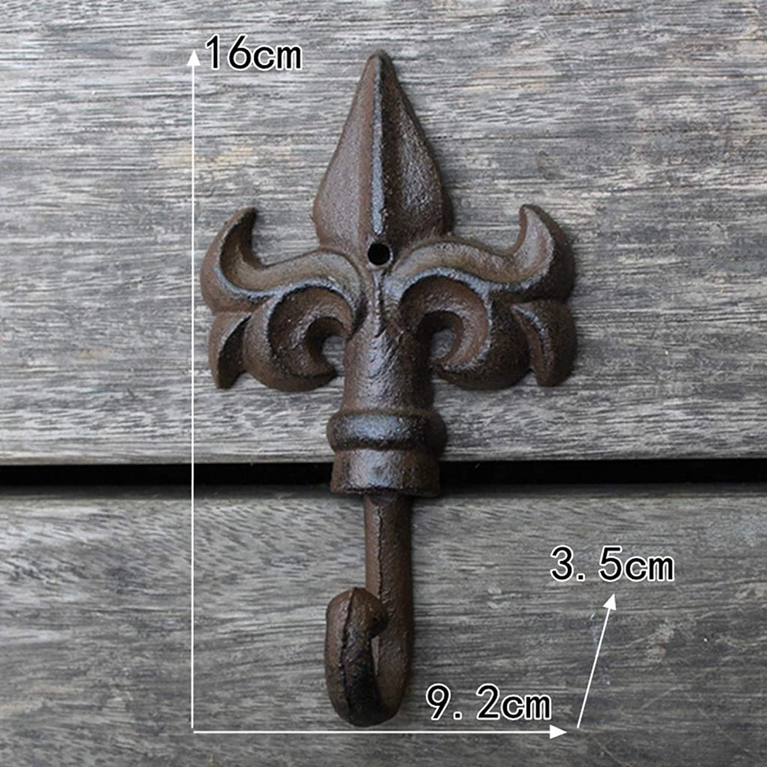 XUYRENP Double Flower Tip Shape Retro Cast Iron Wrought Iron Coat Clothing Supplies Wall Decoration