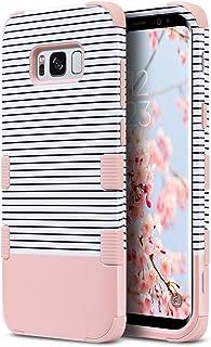 ULAK Funda Galaxy S8 Plus, Híbrido 3 en 1 Case a Prueba Golpes Dura Cubierta Trasera Shock Absorbente TPU Parachoques Caso para Samsung Galaxy S8+ / S8 Plus - Franja de Oro Rosa