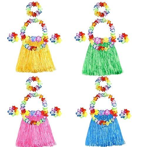ec84a94bf677 FEPITO 4 Set 20 Pcs Hawaiian Grass Hula Skirts with Flower Leis Necklace  Headband Bracelets Luau