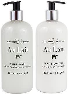 Au Lait Milk Soap Hand Wash + Hand Lotion Set, LARGE 17.5 Ounce