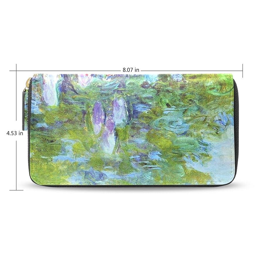 氷幾分フロンティアレディースMonet Paintingパターンレザーロングウォレット&財布ケースカードホルダー