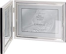 إطارات لورانس 510775D إطار صورة مزدوج مفصلي من الخرز الفضي 17.78 سم × 12.7 سم