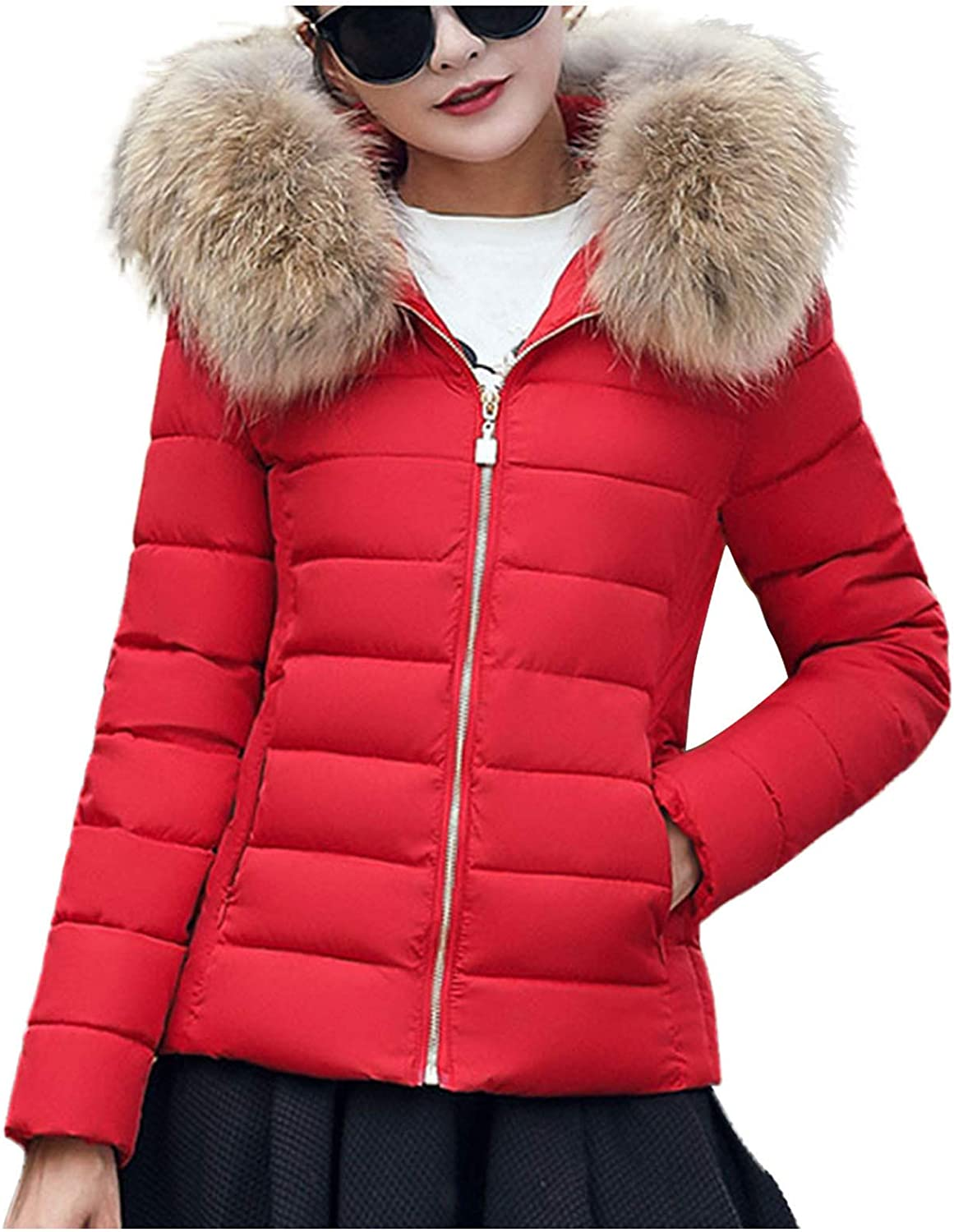 KEEADI Women's Hooded Puffer Coat Short Quilted Jacket Full Zip Warm Winter Thickened Coat