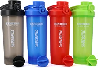AUTO-FLIP Shaker Bottle 4 Pack for Protein Mixes Cups Powder Blender Smoothie Shakes BPA Free Small Shake with Powerful Mixing Ball - 24 Ounce (Not Include Black,Random Color,Color may be repeated)