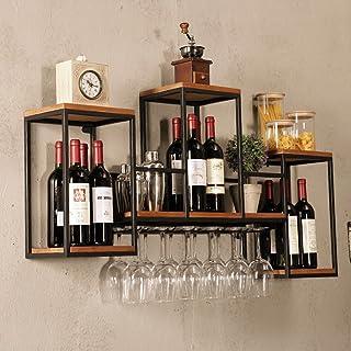 Casier à vin Étagère de vin en métal mural Loft, Support en verre Tablette en bois Support à vin 12 Unité de rangement Éta...