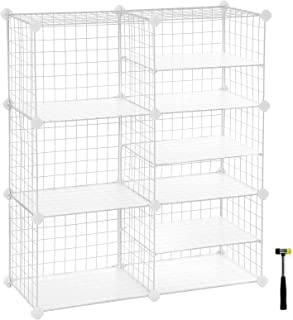 SONGMICS Cube Storage Unit, Interlocking Metal Wire Organizer with Divider Design, Modular Cabinet, Bookcase for Closet Bedroom Kid's Room, 32.7 L x 12.2 W x 36.6 H Inches, White ULPI36W