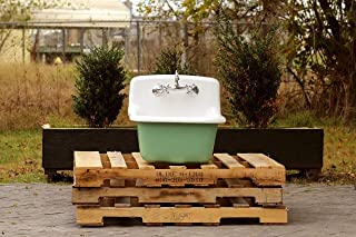 Vintage Style Deep Utility Sink Antique Inspired High Back Cast Iron Porcelain Farm Sink Package Arsenic Green