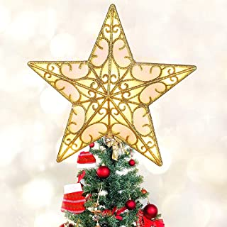 MAOYUE Christmas Tree Topper Lighted Tree Topper Vintage Christmas Star Tree Topper Battery Operated Built-in 10 LED Lights for Christmas Tree Decorations, Christmas Tree Ornaments