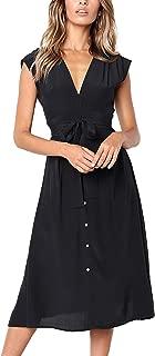 ECOWISH Womens Striped Button Down Bohemian Spaghetti Floral Dress Tie Waist Sleeveless Swing Midi Dress