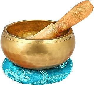 Reehut Tibetan Meditation Yoga Singing Bowl Set, Hand Hammered Singing Bowl With Mallet & Silk Cushion, For Meditation, Chakra Healing, Prayer, Yoga and Mindfulness