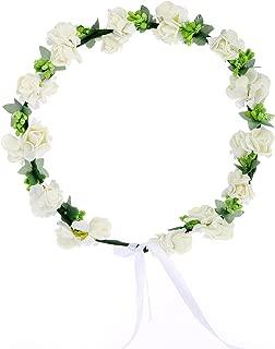 AWAYTR Flower Wreath Headband Floral Crown Garland Halo for Wedding Festivals (Cream White)