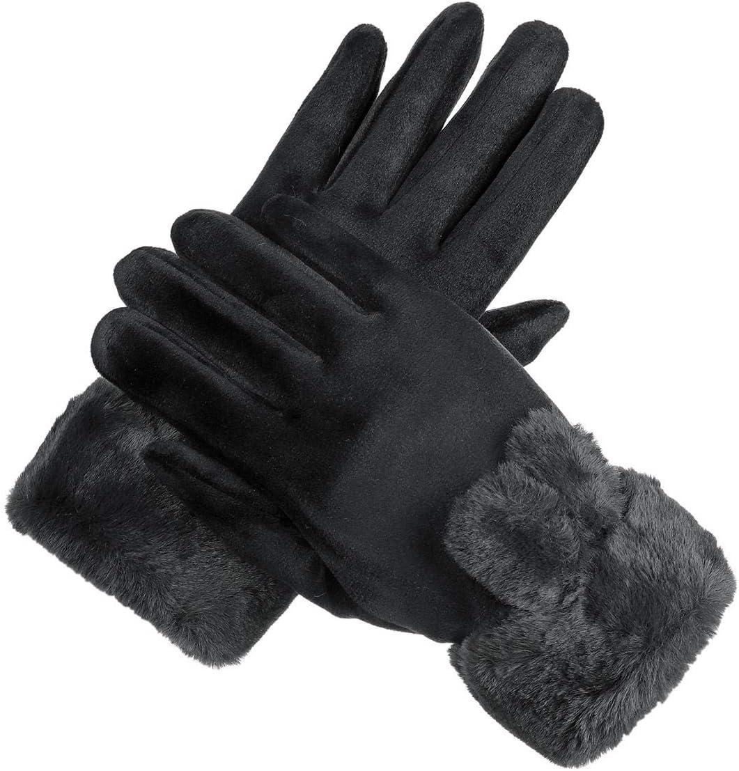 Lupovin-Keep Warm Women Winter Warm Gloves Outside Sport Touch Screen Windproof Full-Finger Caloric Gloves Non-Slip (Color : Dark Blue)