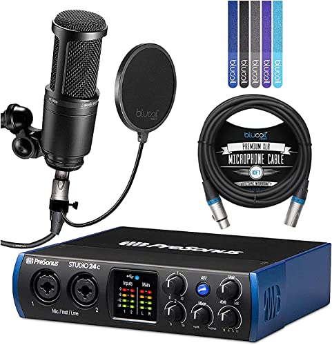 wholesale PreSonus Studio 24c 2x2, 192 kHz, USB Audio high quality Interface for Mac & Windows Bundle with Studio One Artist Software, Audio Technica AT2020 Microphone, Blucoil 10' lowest XLR Cable, Pop Filter, and 5x Cable Ties online sale
