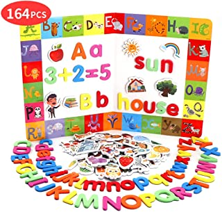 Beebeerun Magnetic Letters and Numbers for Toddlers,Includes Alphabet Magnets + Matching A-Z Objects / ABC Magnets, Numbers and Board,Educational Toy for Preschool Learning, Spelling, Counting