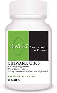 DaVinci Laboratories – Chewable C-300, Bioavailable Vitamin C 300 mg, with Collagen, Rose Hips and Bioflavonoids, Vegetari...