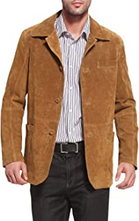 BGSD Men's Button Front Suede Leather Shirt Jacket Medium