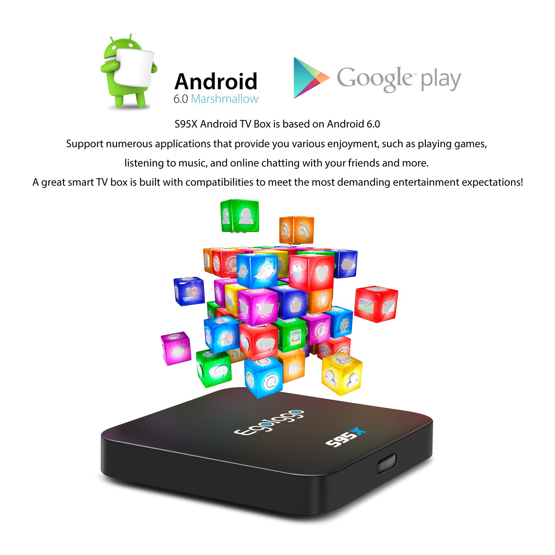 Egoiggo S95 X Android TV Box Amlogic S905 X Android 6.0 Bulit-in lastest Quad Core ARM Cortex-A53, 1 GB + 8 GB 4 K Smart TV Caja Negro.: Amazon.es: Electrónica