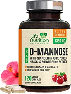 D-Mannose Capsules with Cranberry - Extra Strength, 1350mg Fast-Acting, Natural Urinary Health Support, Includes Dandelion...