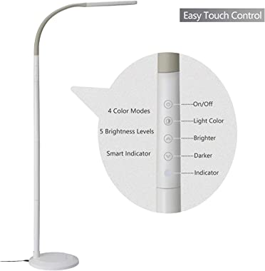 PHIVE LED Floor Lamp for Reading, Dimmable Gooseneck Standing Lamp (4 Color Modes, 5-Level Dimmer, 12W, Memory Function, Touc