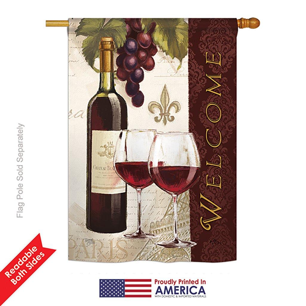 Breeze Decor H117053 Welcome Happy Hour Drinks Wine Decorative Vertical House Flag 28 X 40 Multicolor Garden Outdoor