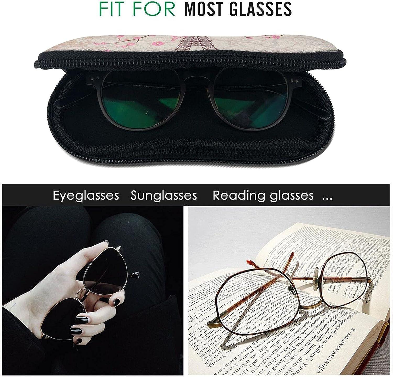YAZXHJAZ Sunglasses Soft Case with Belt Clip Vintage Eiffel Tower Pink Romantic Cherry Blossom Ultra Light Neoprene Zipper Eyeglass Glasses Pouch