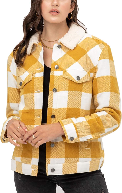 Women's Faux Fur Plaid Jackets – Woven Plaid Button Down Sherpa Fleece Jacket