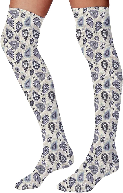 Men's and Women's Fun Socks,Moroccan Oriental Design with Geometric Shapes Circles Corners