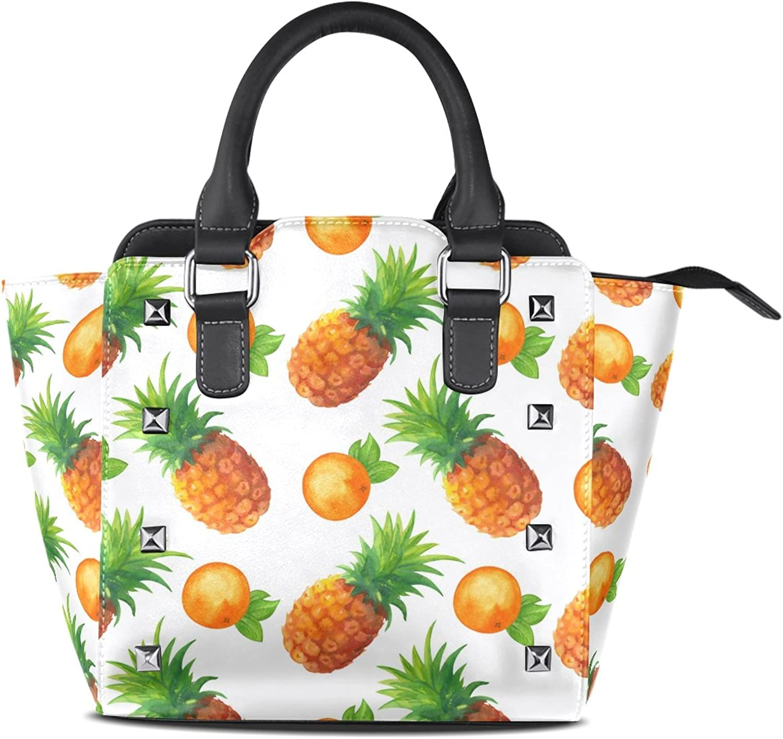 My Little Nest Women's Top Handle Satchel Handbag Watercolor Pineapples and oranges Ladies PU Leather Shoulder Bag Crossbody Bag