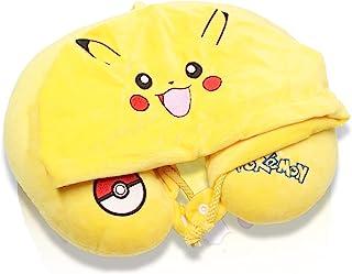 FINEX Premium Pikachu Yellow U-Shape Travel Pillow with Hood for Home Car Seat Neck Head Rest Pillow Cushion Cute Soft Comfy