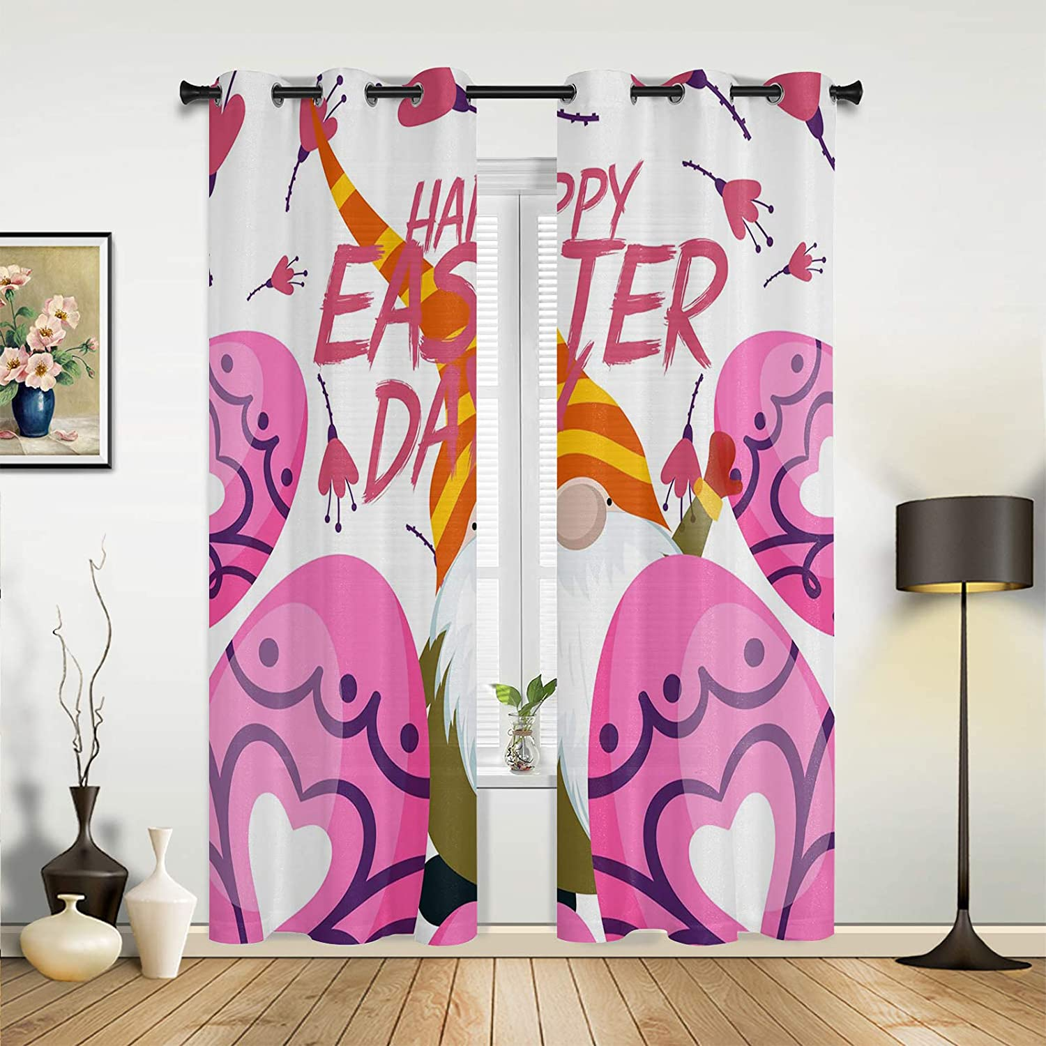 Beauty OFFicial store Decor Window Sheer Curtains Trust Living Happy for Room Bedroom