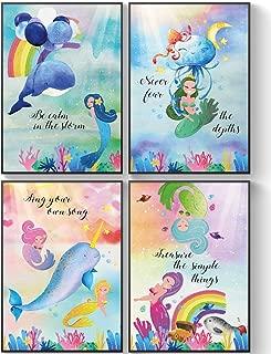 Pillow & Toast Mermaids Little Girls Posters Room Decor, Under The Sea Mermaid Decorations, Sister Bathroom Wall Art Set of 4