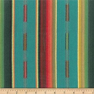 Laura & Kiran 0515041 Southwest Stripes Sundance MultiBasketweave Fabric by The Yard, Turquoise Multi