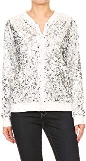 df5e4499 Anna-Kaci Womens Sequin Long Sleeve Front Zip Jacket with Ribbed Cuffs