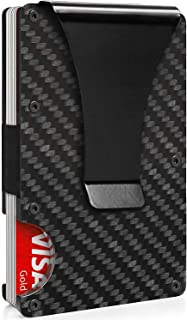 Carbon Fiber Wallet Mini Credit Card Holder, RFID Blocking Slim Wallet and Money Clip, Front Pocket Wallets for Men- Minim...