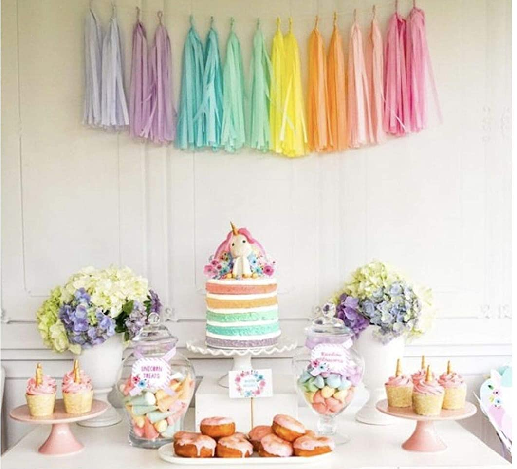 Hand Made Unicorn Rainbow Tissue Paper Tassels for Party Wedding Gold Garland Bunting Pom Pom by Originals Group