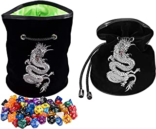 Rogues & Knaves DND Dice Bag with Platinum Dragon. Large Dice Bags Ideal for RPGs (Black).