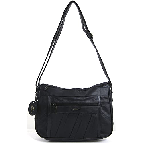 Womens Super Soft Nappa Leather Shoulder Bag   Handbag with Two Main Zipped  Compartments (Black 5a84e6af1a624