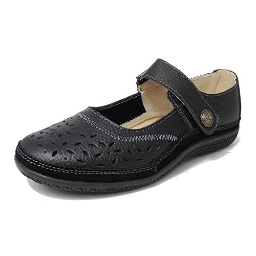 f34cec43a31 Womens Ladies X Wide EEE Fit Leather Shoes Touch Fastening Black White Navy  Bronze Size 3