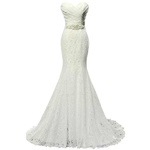 420c5e43635 SOLOVEDRESS Women s Beaded Pleat Lace Wedding Dress Mermaid Bridal Gown  with Sash