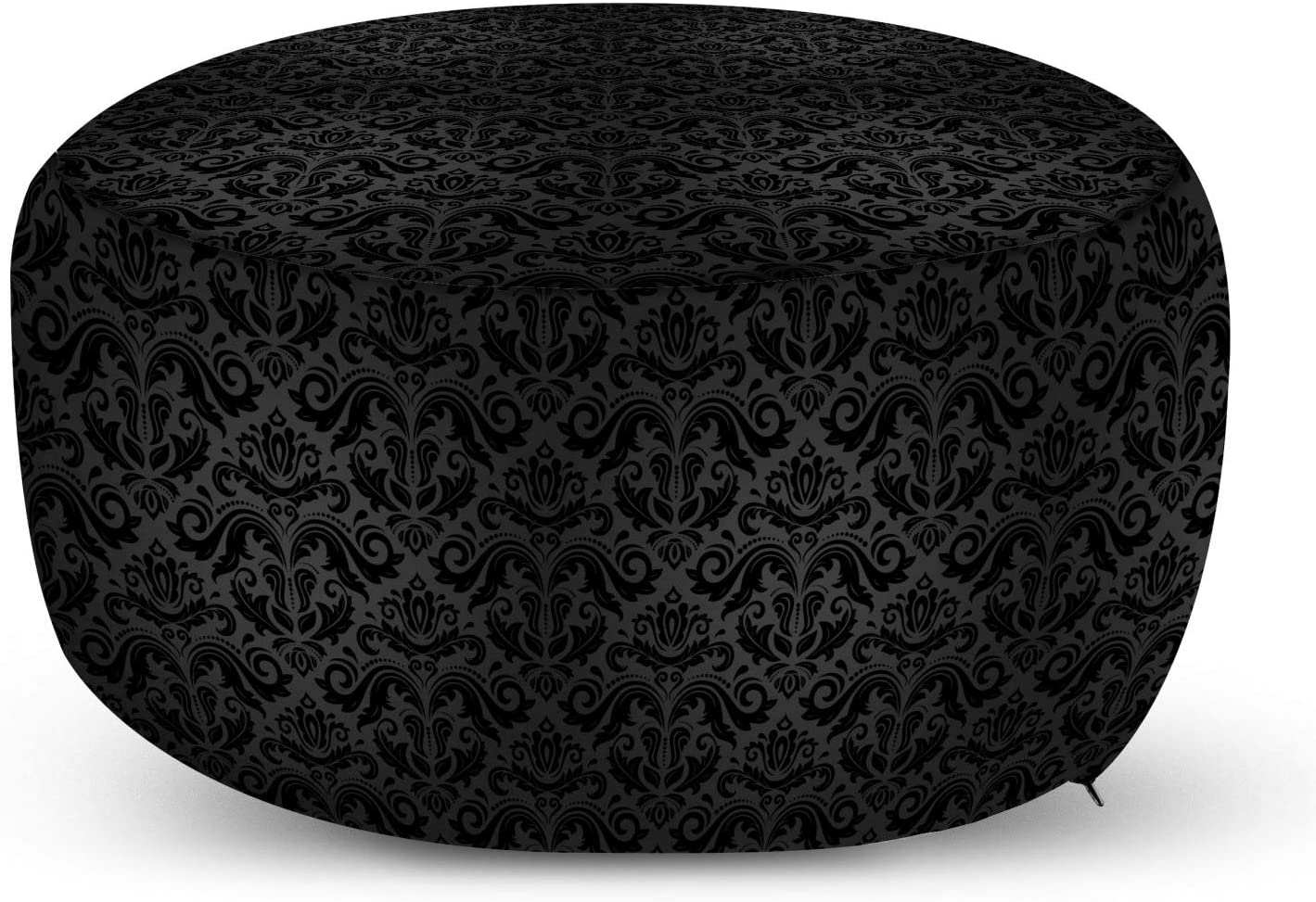 Ambesonne Dark Grey Ottoman Pouf Elemen and Floral Cheap mail order specialty store Safety trust Black Damask