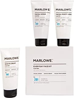 MARLOWE. No. 201 Everyday Face Kit for Men | Men Facial Care Starter Set | Daily Face Scrub, Moisturizer, Shave Cream | Exfoliating Wash, Lotion, Shave Pack with Green Tea Extract | Great Gift