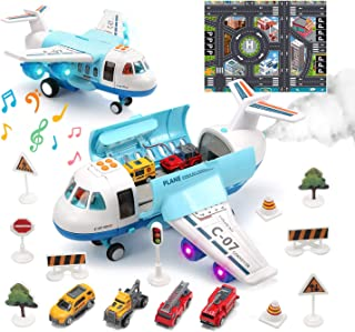 CUTE STONE Airplane Toy with Smoke, Sound and Light, Push and Go Plane with Mini Fire Trucks, Construction Trucks and Police Cars