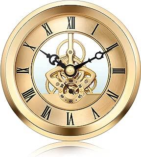 Hicarer 4 1/16 Inch Gold Skeleton Clock Insert with Gold Bezel