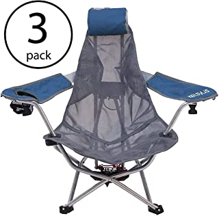 Kelsyus Mesh Folding Backpack Beach Chair with Headrest, Blue and Gray | 80403 (3 Pack)