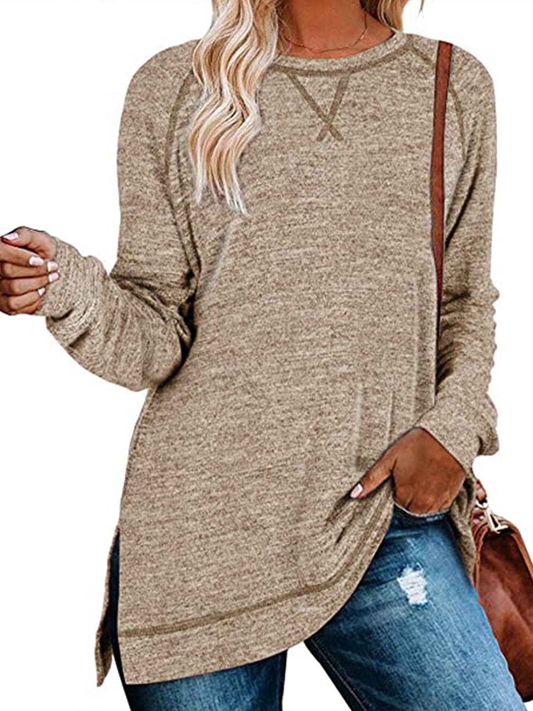 TEMOFON Women T Shirts Long Sleeve Casual Loose Side Split Tunic Tops Khaki XL