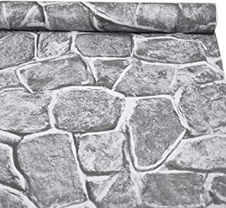 "3D Stone Wallpaper, H2MTOOL Removable Self Adhesive Rock Wallpaper Gray (17.7"" x 78.7"", Grey)"