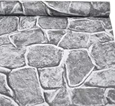 "3D Stone Wallpaper, H2MTOOL Removable Self Adhesive Rock Wallpaper Gray (17.7"" x 78.7"", Grey)"